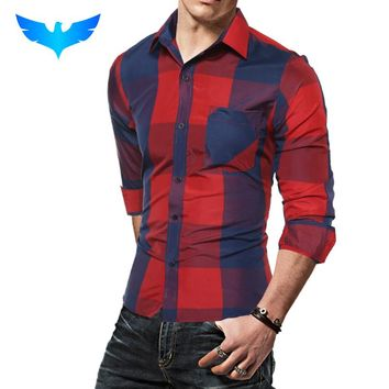 Fashion Male Shirt Long-Sleeves Tops Fashion Hit Color  Big Plaid Mens Dress Shirts Slim Men Shirt