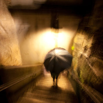 THE UMBRELLA - Fine Art - Surrealism - Photography - Print - Wall Art - Oil Painting - Night - City - Rain - Dark - Umbrella Painting