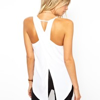 ASOS Tank with Asymmetric Straps and Wrap Back - Chartreuse