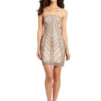 Adrianna Papell Women's Strapless Fully Beaded Cocktail Dress with Geo Pattern Beading with Geo Pattern Beading