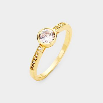 Gold Plated Round Cz Ring