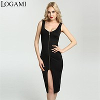 Summer Dress Sexy Woman Sleeveless Bodycon Dress Split Zipper Party Dresses Midi Plus Size Women Clothing