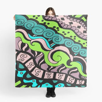 'Insane in the Membrane - Abstract Doodle Art' Scarf by Suzeology