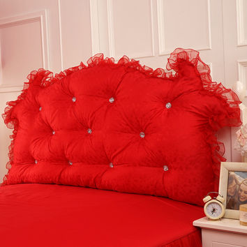 Bedside backrest Crystal buckle Satin jacquard lace bed backrest Bed Cushion red wedding EPE romantic princess bed pillow king