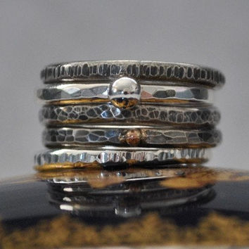 Sterling Stacking Rings Five Ring Set by DalkullanJewelry on Etsy
