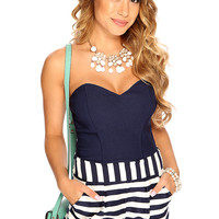 Navy Two Tone Striped Strapless Sexy Summer Romper