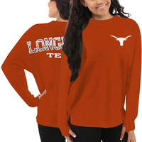 Texas Longhorns Women's Aztec Sweeper Long Sleeve Oversized Top - Orange