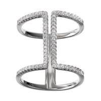 Cubic Zirconia Sterling Silver H Ring (White)