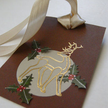 Reindeer and Holly Holiday Chrismas Gift Tag Set