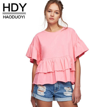 HDY Haoduoyi 2017 Fashion Loose Blouse Women Casual Cute Butterfly Sleeve O-neck Tops Brief Ruffles Solid 2 Colors Summer Shirt