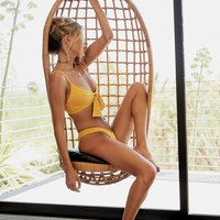 Start Me Up Front Knot Bikini Top - Yellow Suede