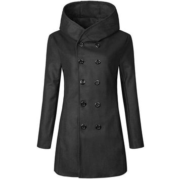 Partiss Men's Double-Breasted Notch Collar Hooded Trenchcoat