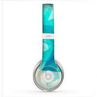 The Vector Abstract Shaped Blue Overlay V2 Skin for the Beats by Dre Solo 2 Headphones