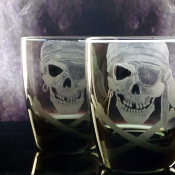 Pirate skull and crossbones smoke glass tumblers, custom barware , bar set , man cave, gifts for him or her
