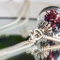 Real Moss Necklace, Jewelry Glass silver Globe Pendant, Real Dried Flowers, Moss,  Vial ball filled with real Moos