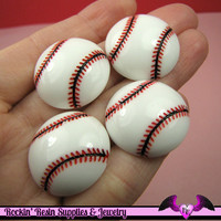 4 Pcs BASEBALL Sports Resin Flatback Decoden Cabochons 25mm