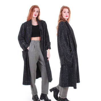 80s Vintage Long Wool Coat Speckled Black Boucle Tweed Duster Oversized Minimalist Retro Warm Winter Jacket Women Size Large