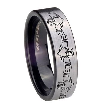 8MM Silver Black Irish Claddagh Pipe Cut Tungsten Carbide Laser Engraved Ring