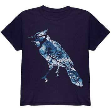 LMFCY8 Spring Flowers Blue Jay Bird Youth T Shirt