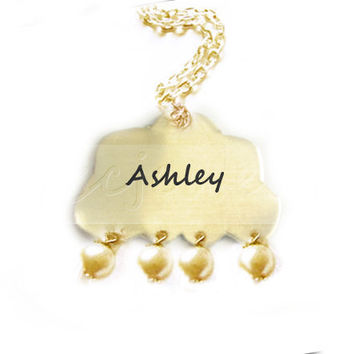 Rain Cloud Necklace Hand Stamped Personalized Storm Raindrop Glass Beads choice brass aluminum