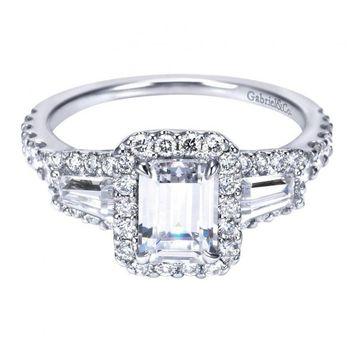 1.84cttw Halo Emerald Cut and Baguette Diamond Engagement Ring