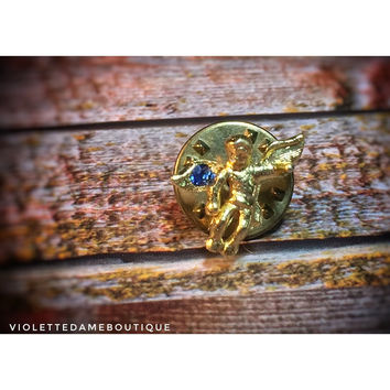 1980s Vintage Blue Rhinestone Gold Toned Tiny Guardian Angel Lapel Pin