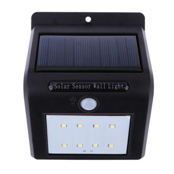 Waterproof 8 LED Security Solar Powered Light PIR Motion Sensor Light Wall Lamp for Path Stairs Garden Outdoor Decoration