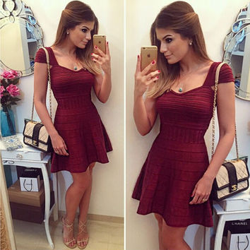 Autumn Women's Fashion Sexy Bandages Dress Vintage High Rise Party Prom Dress Short Sleeve One Piece Dress [4919733572]