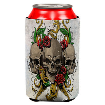Skulls and Roses Metal Tattoo All Over Can Cooler