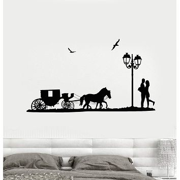 Wall Decal Horse Carriage Couple in Love Romance Decor Vinyl Sticker (ed1105)