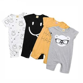 Rabbit, Smiley, Bear, Happy Collection New Born Infant Baby Romper Jumpsuit