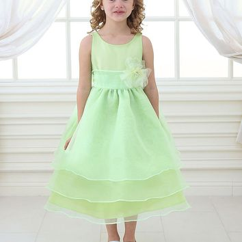 Adorable Overlay Flower Girl Dress with Sash and Flower
