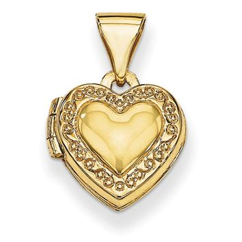 14kt Yellow Gold Scroll Border Double Photo Girls Locket Pendant