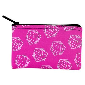DCCKU3R D20 Gamer Critical Hit and Fumble Pink Pattern Dice Pouch