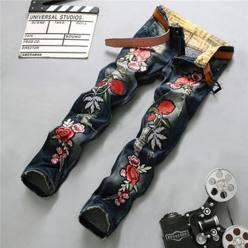 Ripped Holes Slim Embroidery Jeans [10766091907]