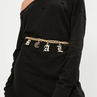 Missguided - Gold Real Chain Waist Belt