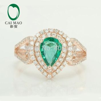 CaiMao Natural 1.05ct Green Emerald 0.68ct Diamond 14K Rose Gold Engagement Wedding Ring