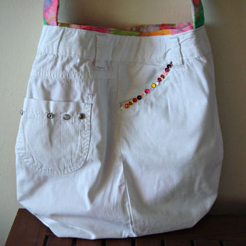 Upcycled white bag decorated with multicolored sequins. Crossbody purse.