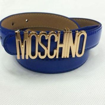 ac NOVQ2A Moschino Men's and Women's Tide Brands Fashionable English Letters High Quality Belt Fashion Wild Candy F Blue