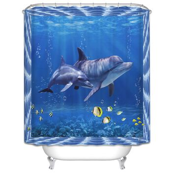 High Quality 3D Dolphin Seascape Bathroom Curtains Digital Printed Shower Cover Polyester Waterproof Blue