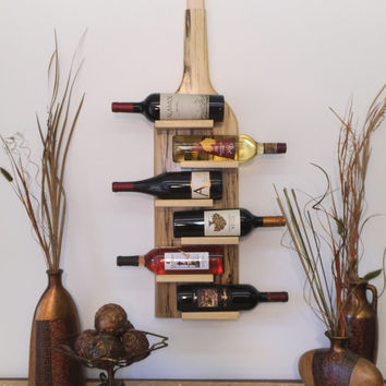 "Wine Rack for flush One of a Kind Spalted Poplar mounting to any wall area. Size: 36"" (H) x 9.5"" (W) x 4"" (D)"