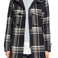 Steve Madden Check Plaid Toggle Duffle Coat | Nordstrom