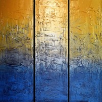 """View: extra large huge triptych 3 panel wall art silver gold blue effect painting big """" Silver and gold """" abstract impasto elegant abstraction 4ft x 4ft and 6ft x 6ft 