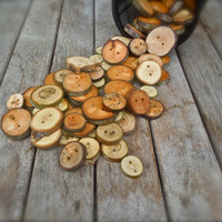 Wholesale buttons - 50 assorted reclaimed wood buttons