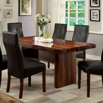 Furniture of america CM3824T-7PC 7 pc bonneville i brown cherry finish rosewood grain faux marble insert dining table set