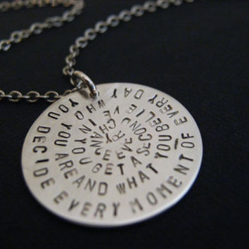 Quote Necklace, Spiral Quote Necklace, Poem on Necklace, Verse on Necklace, Personalized Jewelry, Personalized Necklace