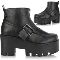 Ladies Chunky Cleated Platform Sole Block Heel Chelsea Ankle Wedge Boots Shoes