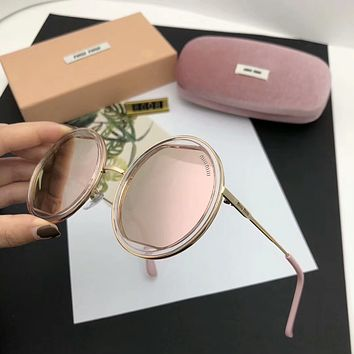 Miu Miu Popular Women Cute Summer Round Style Sun Shades Eyeglasses Glasses Sunglasses Pink I-A-SDYJ