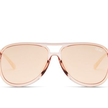 Quay Under Pressure Champagne Sunglasses / Rose Lenses