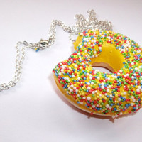 Squishy Doughnut Necklace Sprinkle by KitschBitchJewellery on Etsy